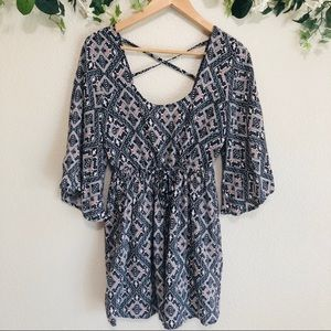 Blue Rain Diamond print bell sleeves mini dress